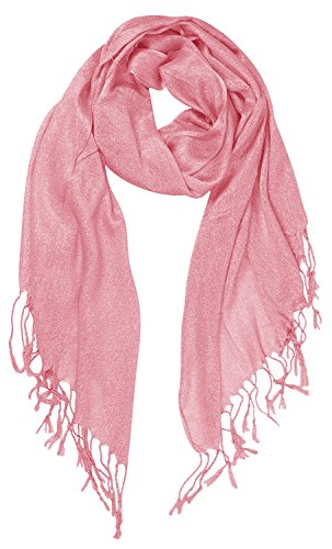 Peach Couture Beautiful Princess Shimmer Sparkle Lightweight Sheer Fringe Scarf Pink