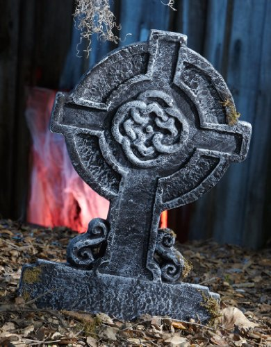 Creepy Cemetery Halloween Party Mossy Celtic Cross Tombstone Decoration, Foam, 22
