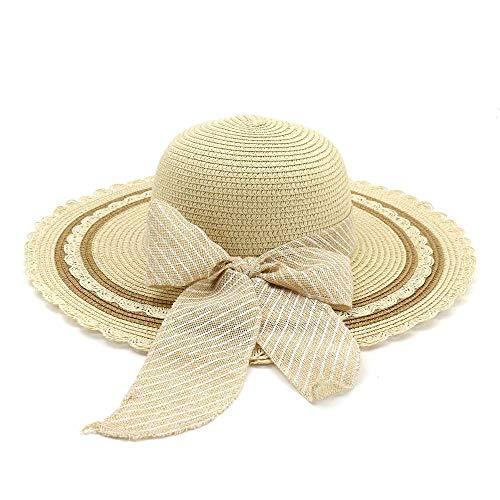 MADONGKJA Hat Female 2019 Jazz Hat Seaside Sunscreen Beach Straw Hat Sun Hat Bow Stripes Fashion Visor (Color : Light Khaki, Size : 56-58CM)