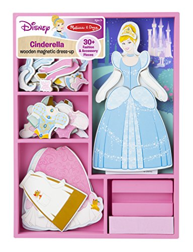 [Melissa & Doug Disney Cinderella Magnetic Dress-Up Wooden Doll Pretend Play Set (30+ pcs)] (Cinderella Dress Up)
