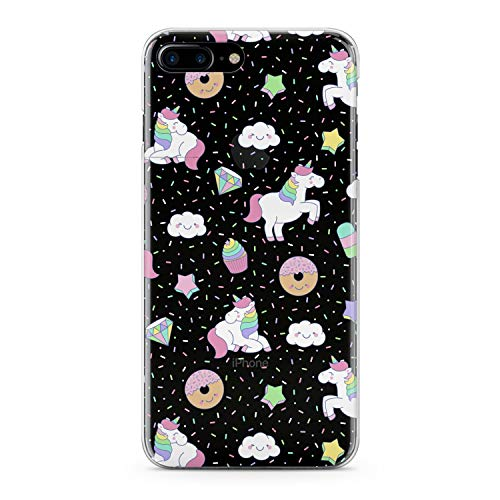 Lex Altern TPU Case for iPhone Apple Xs Max Xr 10 X 8+ 7 6s 6 SE 5s 5 Slim fit Clear Cute Pink Women Girls Smooth Print Gift Donuts Flexible Teen Unicorn Soft Lightweight Cover Design Pattern White