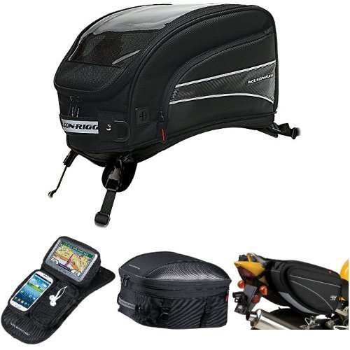 Nelson-Rigg CL-2016-ST Black X-Large Strap Mount Journey Tank Bag,  CL-GPS-MG Black Magnetic Mount Journey GPS Mate,  CL-1060-ST Black Sport Touring Tail/Seat Pack,  and  CL-950 Black Deluxe Sport Touring Saddle Bag Bundle
