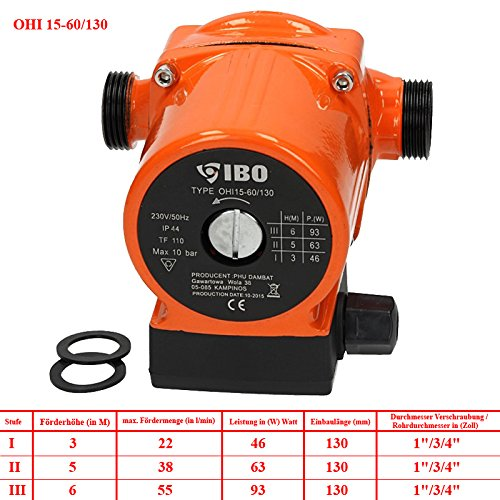 IBO Umw/älzpumpe Heizungspumpe Pumpe Heizung Nassl/äufer Hocheffizienzpumpe Nassl/äuferpumpe Klasse A Stromsparende OHI32-80//180 sort