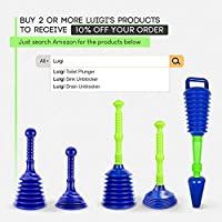 Luigis The Worlds Best Toilet Plunger Heavy Duty Toilet Unblocker to fit all toilets Clears and unblocks with Powerful Bellows Updated 2019