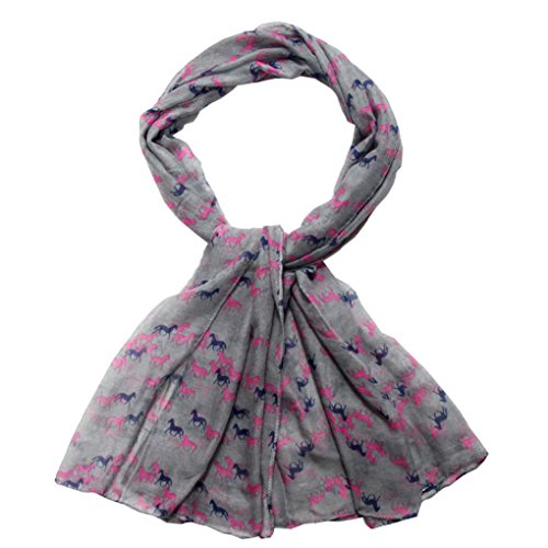 Women Square Scarves WYXlink 1PC Fashion Elegant Women Ladies Horse Satin-Silk Printed Square Head Scarf Wraps Kerchief Neck Scarf (Gray)