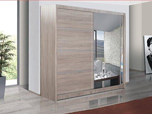 Puerta corredera grande armario con espejo, 150 cm de ancho Vista roble Sonoma by Dako –: Amazon.es: Hogar