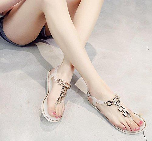 Cyber sandales Plates Femmes Lanière Cheville Sangle Été Plage T-sangle Robe Chaussures Anti-dérapant Blanc