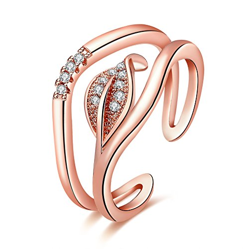 FJYOURIA Women's Stainless-steel Leaf Laurel Adjustable Size Branch Open Ring with Micro CZ Paved (rose-gold-plated-base)