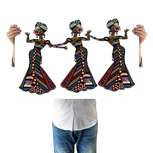 "African Woman Bedroom Young Women in Stylish Native Costumes Carnival Festival Theme Dance Moves canvasses 16""x20""inch Multicolor"
