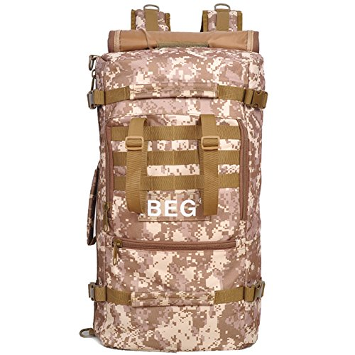 aofit 45L gran capacidad deportes al aire libre mochila multifuncional mochila de viaje mochila Militar ejército combate táctico mochila senderismo mochila, hombre, wolf brown desert camouflage