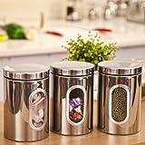 XH® 3pcs Stainless Steel Window Canister Tea Coffee Sugar Nuts Jar Storage Set (Silver)