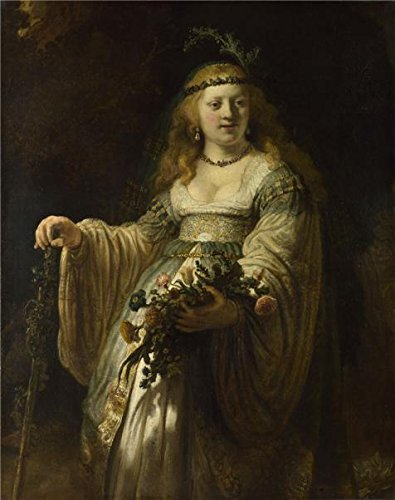 Perfect Effect Canvas ,the Reproductions Art Decorative Prints On Canvas Of Oil Painting 'Rembrandt Harmenszoon Van Rijn- Saskia Van Uylenburgh In Arcadian Costume,17th Century', 20x25 Inch / 51x64 Cm Is Best For Powder Room Decor And Home Artwork And Gifts