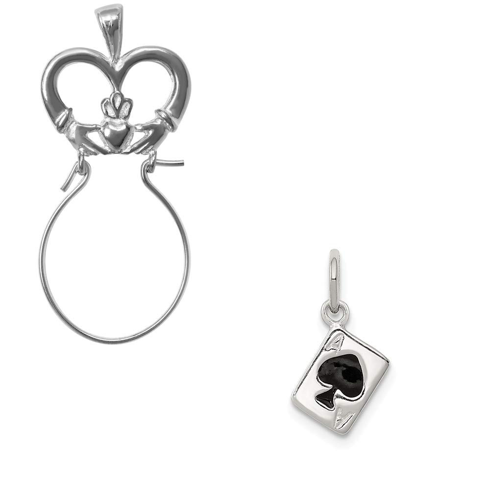 Mireval Sterling Silver Enameled Ace of Spades Card Charm on an Optional Charm Holder