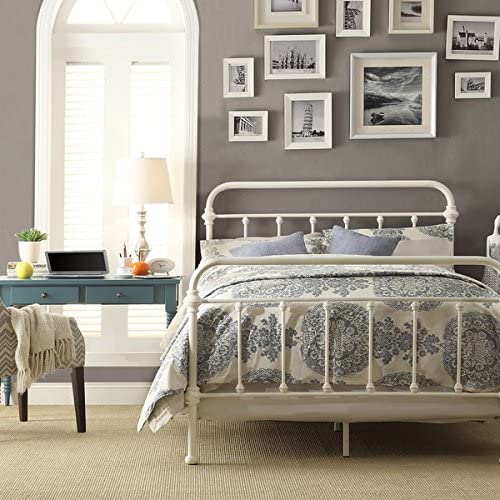 White Antique Iron Metal Bed Frame Vintage Bedroom Furniture Rustic Wrought Country Dark Bronze Wire Cast Womens Mens Girls Kids Princess Headboard Footboard Slats Rails Set Twin Full Queen King Sized queen