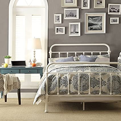 Amazon Com White Antique Iron Metal Bed Frame Vintage Bedroom