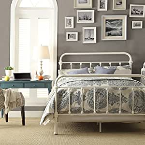 White Antique Iron Metal Bed Frame Vintage