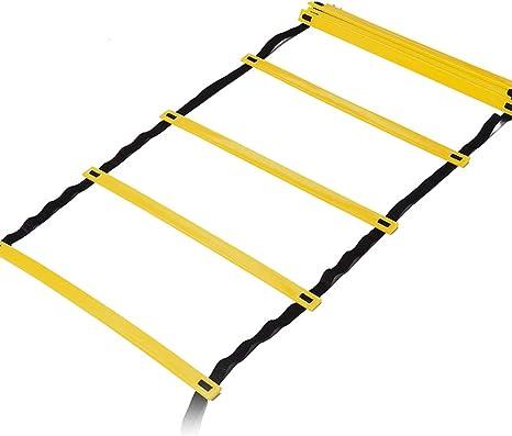 Escalera de agilidad - Escalera de cuerda de entrenamiento de locura para entrenamiento de velocidad - Escalera portátil para entrenamiento deportivo de élite, fútbol, entrenamiento deportivo: Amazon.es: Deportes y aire libre