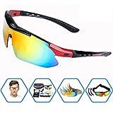 EDO Polarized Sports Sunglasses for Men Women Cycling Running Driving Fishing Golf Baseball Glasses with 5 Interchangeable Lenses, Tr90 Unbreakable Frame