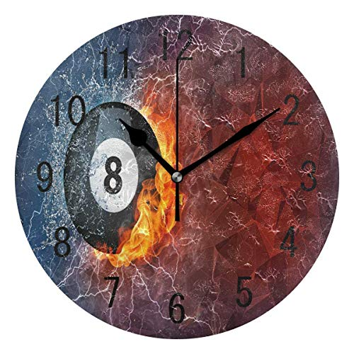 LONK Round Wall Clock Billiard Ball Fire Water Sport Acrylic Non Ticking Silent for Bedroom ()