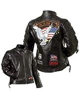 Diamond Plate Women's Leather Biker Jacket w/Live to ride patch