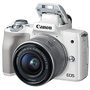 Canon EOS M50 Mirrorless Camera with EF-M 15-45mm f/3.5-6.3 is STM Lens, White – Bundle with 16GB SDHC Card, Camera Case, 49mm Filter Kit, Cleaning Kit, Card Reader, Pc Software Package
