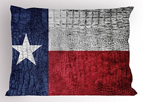 llow Sham, Texas State Flag Painted on Crocodile Snake Skin Patriotic Emblem Image, Decorative Standard Size Printed Pillowcase, 26 X 20 Inches, Ruby Dark Blue White ()