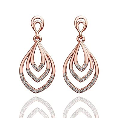 [Sponsored]Women's 18K Real Rose Gold Plated Raindrop Hanging Earrings if1WOC