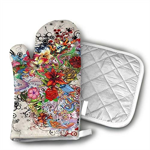 QEJIU Gorgeous Flower Tattoo Heart Shape Oven Mitts Cooking Gloves Heat Resistant, for Kitchen Oven BBQ Grill and Fire Pits for Cooking Baking, (Flower Fire Pit)