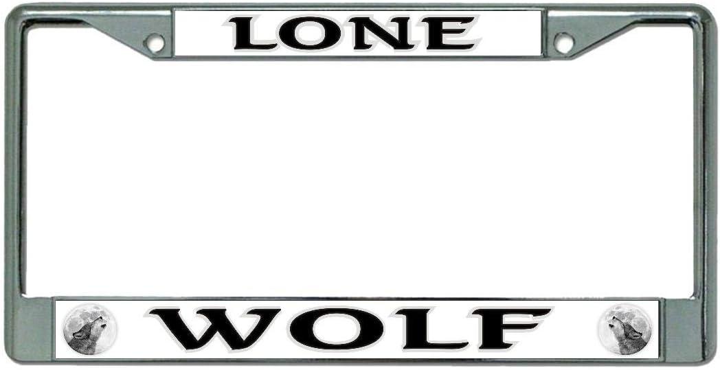 Lone Wolf Chrome License Plate Frame
