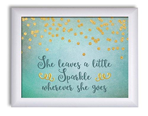 Gango Home Decor Popular She Leaves a Little Sparkle Wherever She Goes' Framed Print; One 14x11in White Framed Print. ()