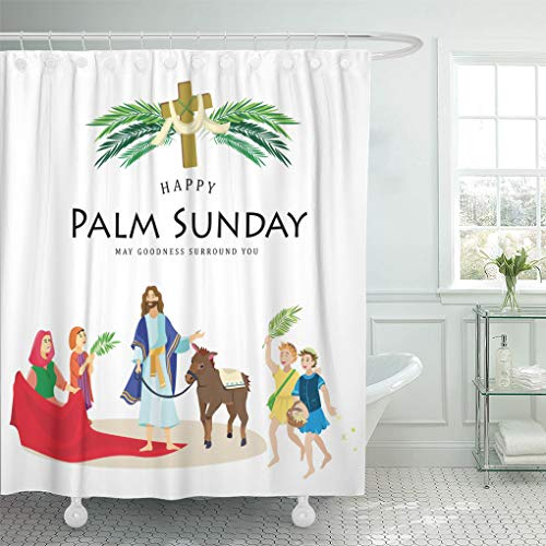 Set Sunday Palm (Emvency Shower Curtain Religion Holiday Palm Sunday Before Easter Celebration of The Shower Curtains Sets with Hooks 72 x 78 Inches Waterproof Polyester Fabric)