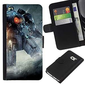NEECELL GIFT forCITY // Billetera de cuero Caso Cubierta de protección Carcasa / Leather Wallet Case for Samsung Galaxy S6 EDGE // Pacífico Rem Robot