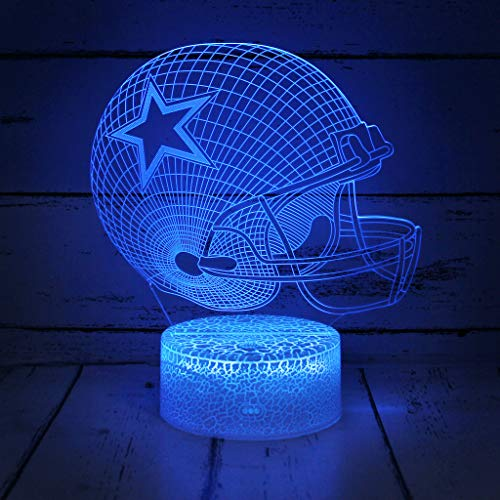 Bigfoot 3D LED Night Light Football Helmet Dallas Cowboys Flat Acrylic Illusion Lighting Lamp with 7 Colors and Touch Sensor, Sports Fan Nightlight Gift for Kids, Boys, Girls, Men or Women