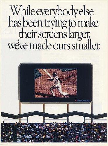 1988 Mitsubishi TV Small Screen Television 60 Inches and Und