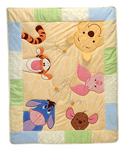 Applique Crib Quilt - Disney Winnie The Pooh - Peeking Pooh Thin Quilt Applique Comforter for Baby Blanket,Crib Bed or Stroller