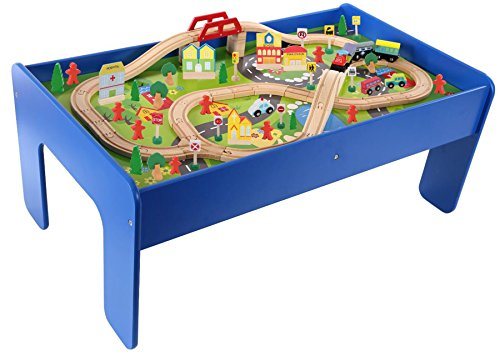 Eclectic Creative Wooden Toy Train Railroad Track Play Table, 90 Piece Set Compatible with Other Sets