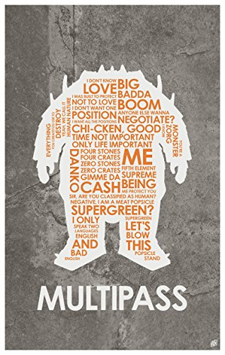 The Fifth Element (Le Cinquième Élément) MULTIPASS Word Art Print Poster (12
