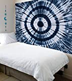 Urban Fab Tie Dye Tapestry Wall Hanging, Twin Tapestries Hippie Wall Art, Bohemian Hippy Decor, Small Mandala Dorm Coverlet (Blue)