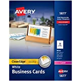 Avery White Clean Edge Two Sided Laser Business Cards, 2 x 3.5 Inches, Box of 400 (5877)