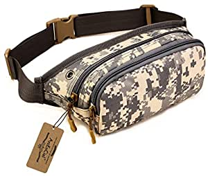 ArcEnCiel Tactical Outdoors Mini Waist Bag Pack Hip Fanny Pack Waterproof Bumbag for Running Trekking Hiking Camping (ACU Camouflage)