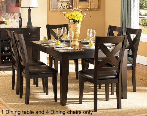 5pc Dining Set with X Back in Warm Merlot (Merlot Dining Set Room)