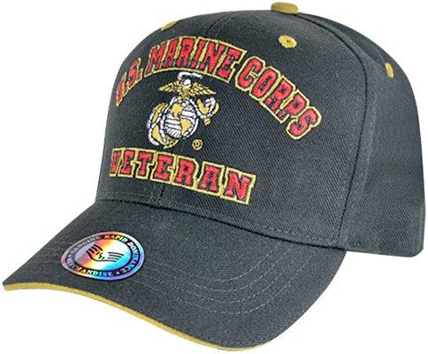 - US Marines Veteran Embroidered Baseball Cap Hat (Black)
