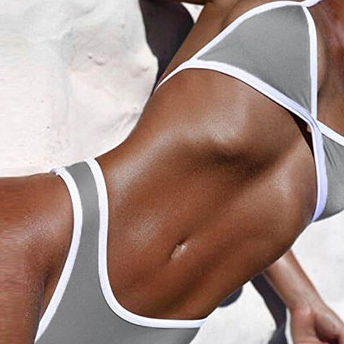 SKY Hot Selling !!!Mujeres La Sra sólido de color bikini Push Up Bra Padded Triangle Top Bikini Set Swimsuit Swimwear Gris Gris