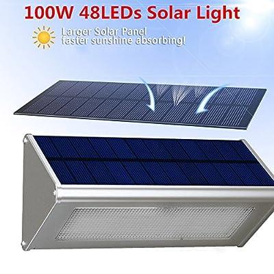 TBAO 48LEDs Aluminum Alloy Solar Radar Sensing Light Outdoor Solar Lights Garden Wall lamp
