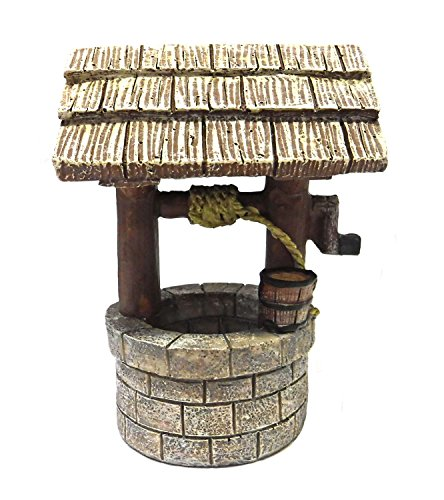 Miniature Polystone Wishing Well with Intricate Detail for Fairy Gardens, Crafting and Creating -