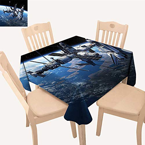 Dora Globe Adventure - UHOO2018 Printed Fabric Tablecloth Square/Rectangle Space Shuttle Stati View Adventure The Myst Globe Orbit Blue Gr Wedding Party Restaurant,52x 52 inch
