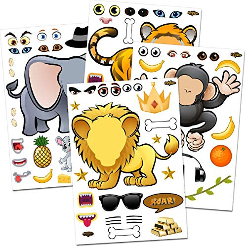 Fun Christmas Party Themes (24 Make-A-Zoo Animal Sticker Sheets - Great Zoo And Safari Theme Birthday Party Favors - Fun Craft Project For Children 3+ Great Party Games For Toddlers - Let Your Kids)