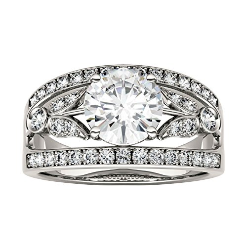 Forever Brilliant Round 7.5mm Moissanite Ring-size 7, 1.91cttw DEW By Charles & Colvard by Charles & Colvard