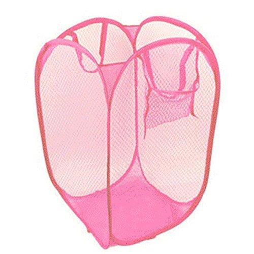 Freeby Foldable Mesh Laundry Basket Hamper Foldable Clothes Bag Folding Washing Bin Pop-Up Washing Storage for The Kids Room College Dorm Travel (Pink)