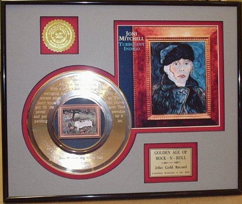 Joni Mitchell'Big Yellow Taxi' Framed 24Kt Gold Record Laser Etched W/Lyrics Music Memorabilia Gold Record Outlet